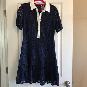 Draper James, meadow lace shirt dress, navy, 10